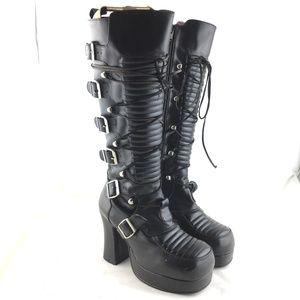 Knee high boots platform high heel buckle combat 8